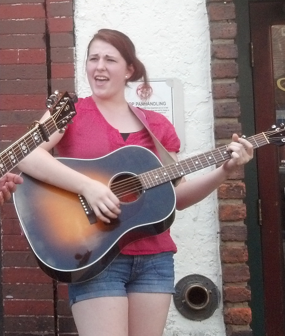 Connie busking in Nashville